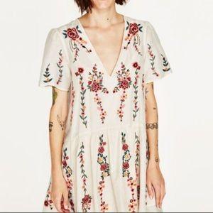 Zara Embroidered Mini Dress.